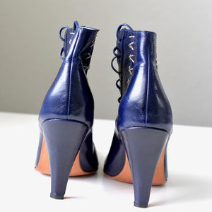 Lonte Shoes - LONTE Indigo Lace up front Ankle Booties